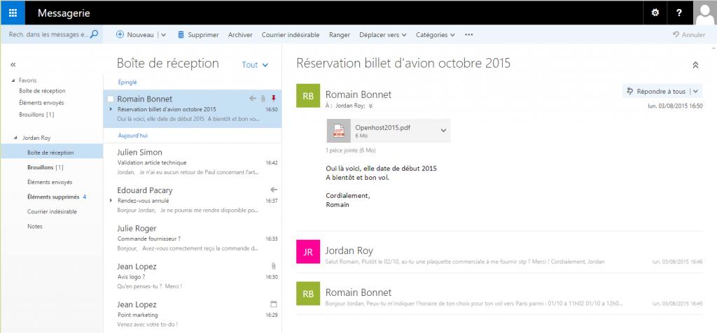 Outlook on the web nouvelle version de Outlook Web App pour Exchange