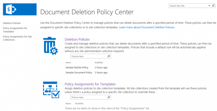 sharepoint 2016 documents policy