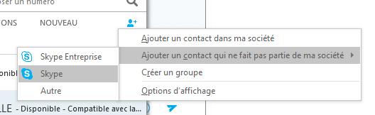 ajouter contacts skype entreprise avec la fédération pour utilisateurs externes