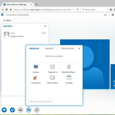 Lync Web App accès directement sur navigateur internet pour Skype Entreprise