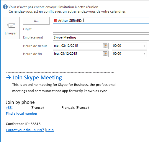 Créer une réunion Outlook Exchange avec Skype Business