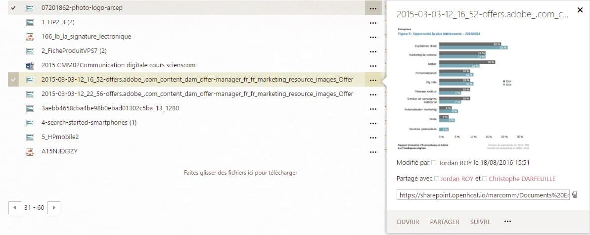 Exemple de Sharepoint 2016 image à prévisualiser