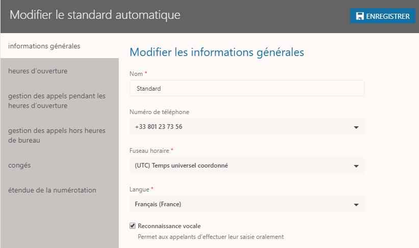 Standard automatique téléphonie Office 365