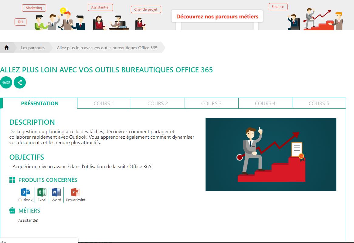 Parcours de formation Mooc Office 365