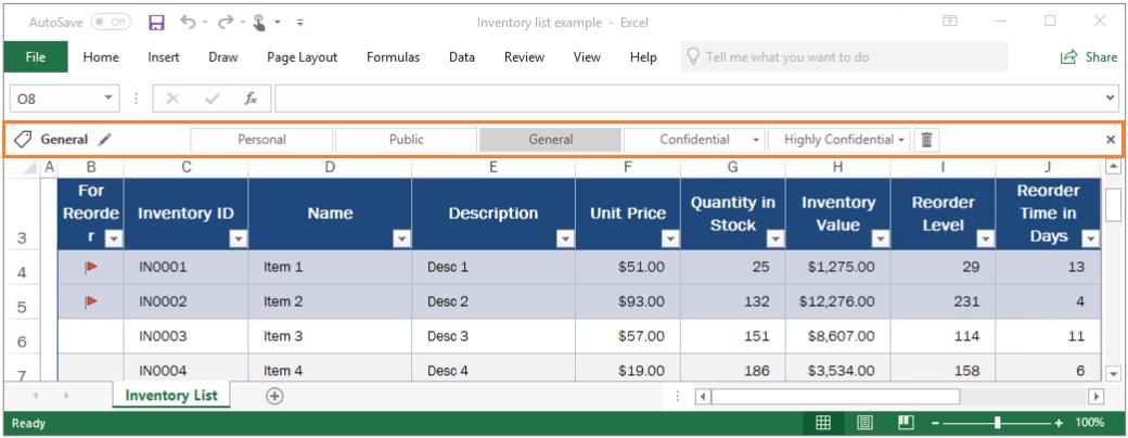 Exemple de la barre Azure Information Protection dans Excel