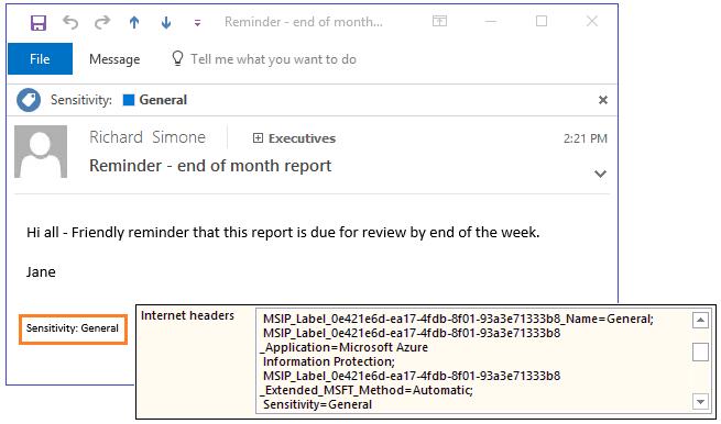 Exemple d'en-têtes et de pied de page d'e-mail montrant la classification Azure Information Protection