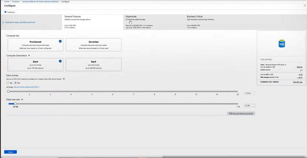 Création de base de données Azure SQL Database